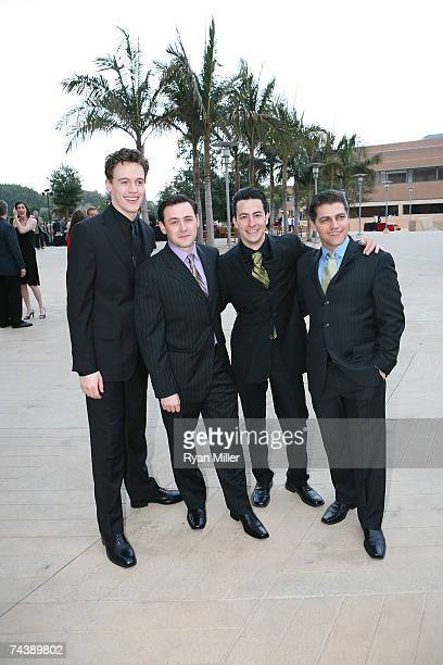 Castmembers Actors playing the Four Seasons Erich Bergen Michael IngersollChristopher Kale Jones and Deven May pose during the opening night party...