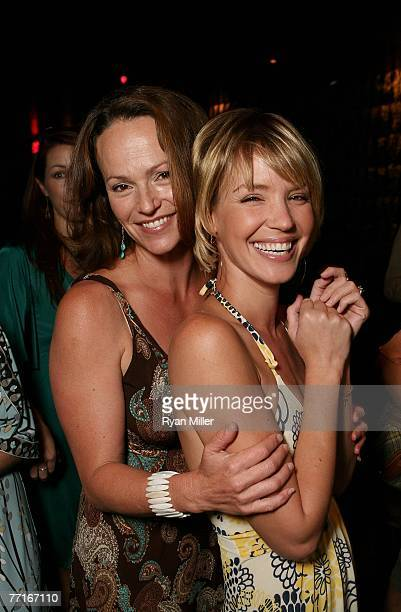 Castmembers actresses Clare Carey and Ashley Scott pose at the party for the CBS DVD release of Jericho The First Season at the new Hollywood hot...