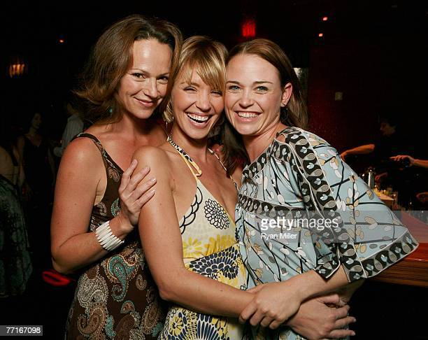 Castmembers actresses Clare Carey Ashley Scott and Sprague Grayden pose at the party for the CBS DVD release of Jericho The First Season at the new...