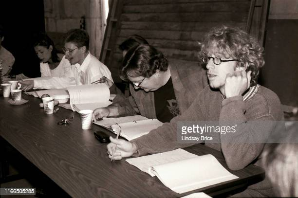 Castmembers Maura Tierney Dave Foley Vicki Lewis Stephen Root and Andy Dick during table read for NewsRadio at Sunset Gower Studios on August 10 1995...