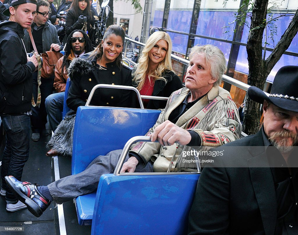 Castmembers rapper Lil Jon, TV/radio personality Claudia Jordan, former Playboy Playmate Brande Roderick, actor Gary Busey, and singer Trace Adkins attend the 'Celebrity Apprentice All Stars' Season 13 Bus Tour at on October 12, 2012 in New York City.