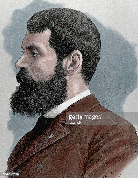 Casto Plasencia y Maestro Spanish painter Portrait Engraving by J Dieguez 19th century Colored