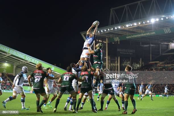 Castre win lineout ball during the European Champions Cup Pool 4 rugby union match between Leicester Tigers and Castres Olympique at Welford Road in...