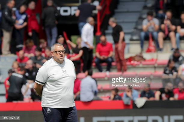 Castres' head coach Christophe Urios looks on before the French Top 14 match between Stade Toulousain and Castres at Stade Ernest Wallon on May 19...