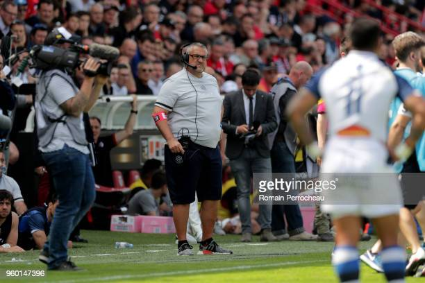 Castres' head coach Christophe Urios looks on during the French Top 14 match between Stade Toulousain and Castres at Stade Ernest Wallon on May 19...