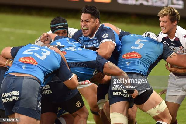 Castres' New Zealander centre Alex Tulou engages in a scrum during the French Top 14 Rugby Union 14 Castres vs Bordeaux Begles on September 2 2017 in...
