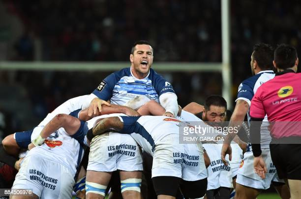 Castres's French lock Loic Jacquet reacts during a scrum during the French Top 14 rugby union match between Toulouse and Castres at the Ernest Wallon...