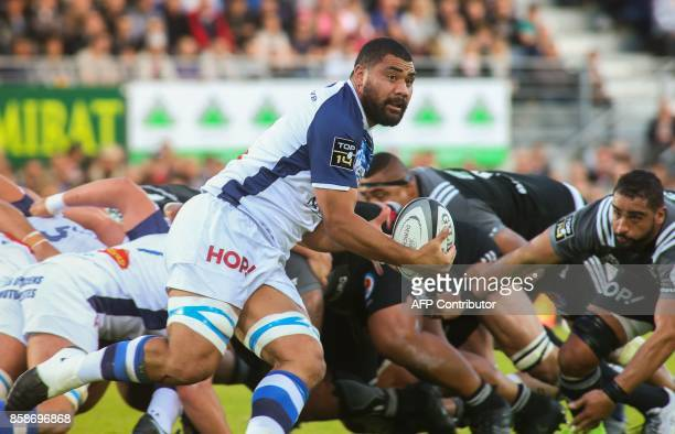 Castres's number eight Ma'ama Vaipulu clears a ball during the French Top14 rugby union match Brive vs Castres on October 7 2017 at the Amedee...