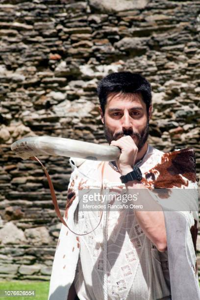 """""""castrexo"""" young man playing horn in a traditional festival, 'arde lucus', lugo, galicia, spain. - muralla stock photos and pictures"""