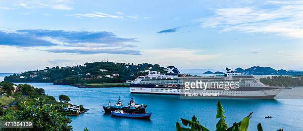 castries harbor, st. lucia - passenger craft stock pictures, royalty-free photos & images