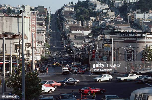 Castro Street in San Francisco USA with the Castro Theatre on the left and the Bank of America on the right July 1984