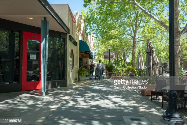 Castro Street in the Silicon Valley, Mountain View, California was nearly empty during an outbreak of the COVID-19 coronavirus, April 24, 2020.