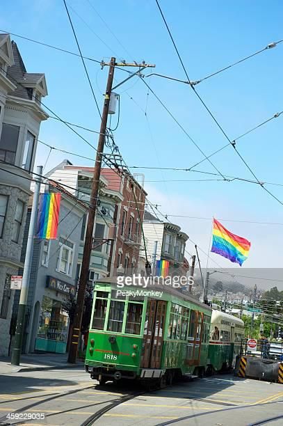 Castro Streetcar with Rainbow Flags San Francisco
