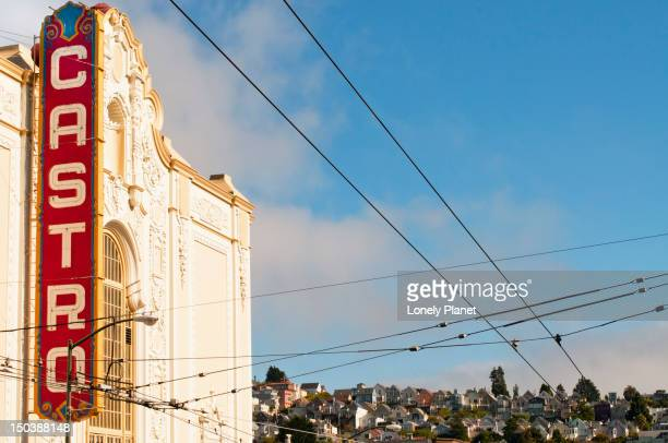 castro theater, overhead wires and houses. - castro district stock pictures, royalty-free photos & images