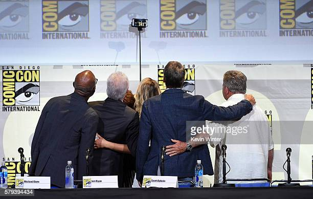 Casts take a selfie during the 'Star Trek' panel during ComicCon International 2016 at San Diego Convention Center on July 23 2016 in San Diego...