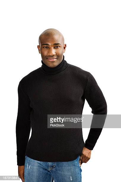 casual african american man - turtleneck stock pictures, royalty-free photos & images