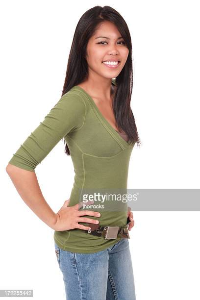 casual and confident young woman - beautiful polynesian women stock photos and pictures