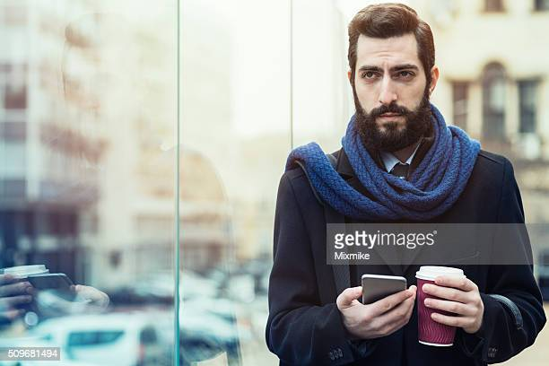 casual business man with smartphone - shawl stock pictures, royalty-free photos & images