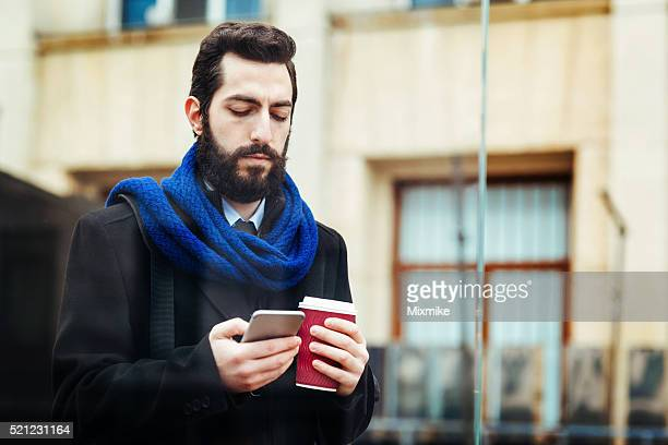 Casual business man with smartphone