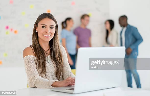 Casual business woman working online