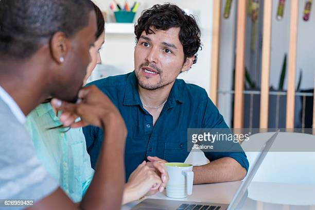 Casual business workers in a relaxed meeting environment