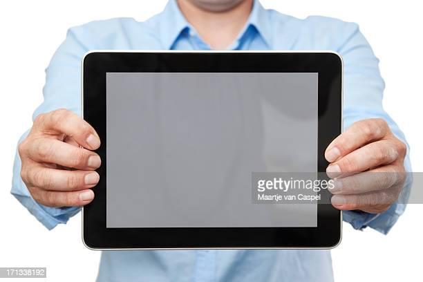 カジュアルを示す実業家デジタルタブレット PC (水平)
