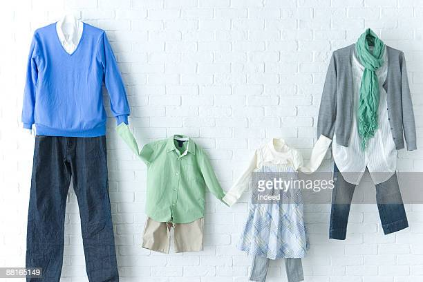 Casual clothing of parents with two children