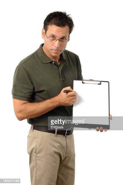 Casual Dress Businessman Holding Clipboard Isolated on White Background