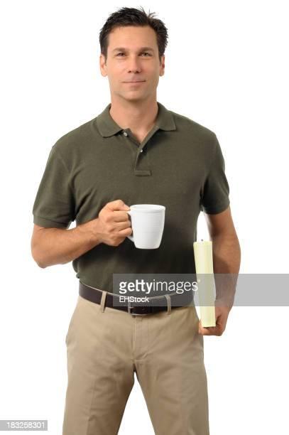 Casual Dress Businessman Holding Coffee Mug Isolated on White Background