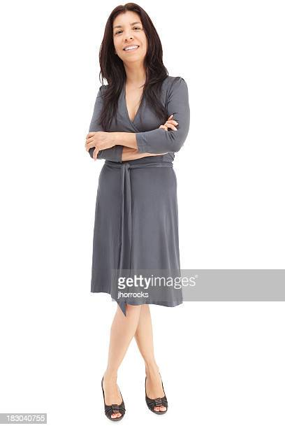 casual hispanic woman in gray dress - grey dress stock pictures, royalty-free photos & images
