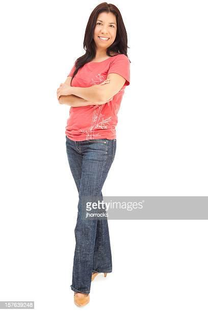 """Legere Hispanic Frau in Rosa und blaue Jeans """"-T-Shirts"""