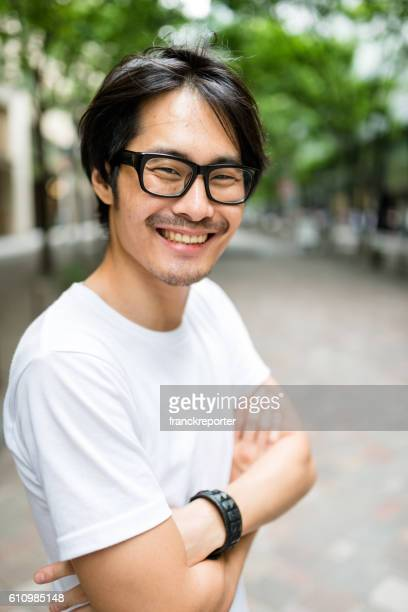casual japanese man portrait on the street