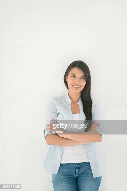 Casual Latin American woman smiling