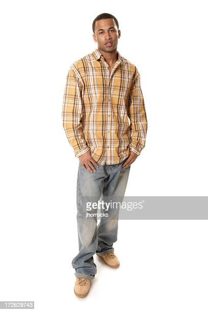 casual male iv - brown jeans stock photos and pictures