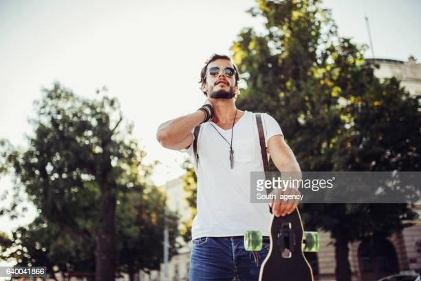 Casual man walking on the street
