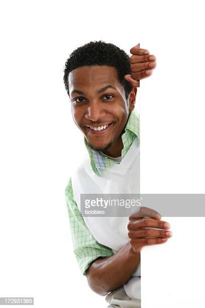 Casual homme avec panneau