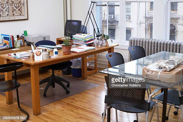 Casual office space in corner of room