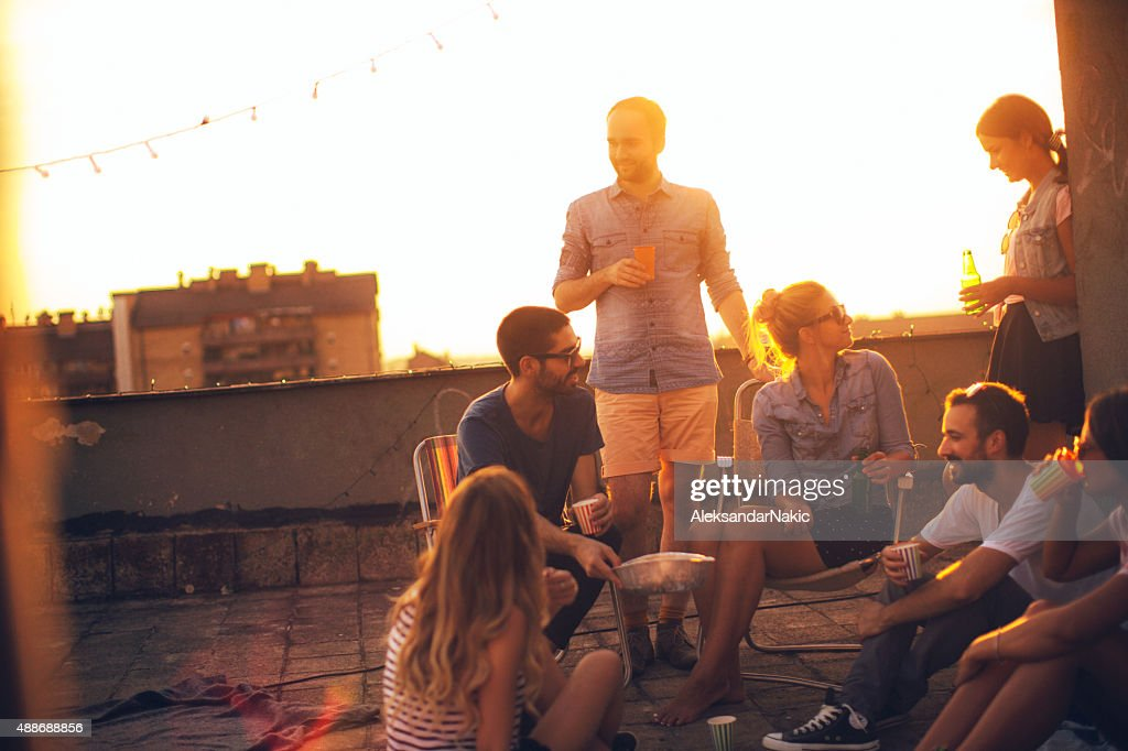 Leger-party auf dem Dach : Stock-Foto