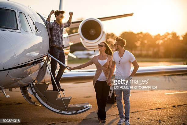 Casual people and private airplane