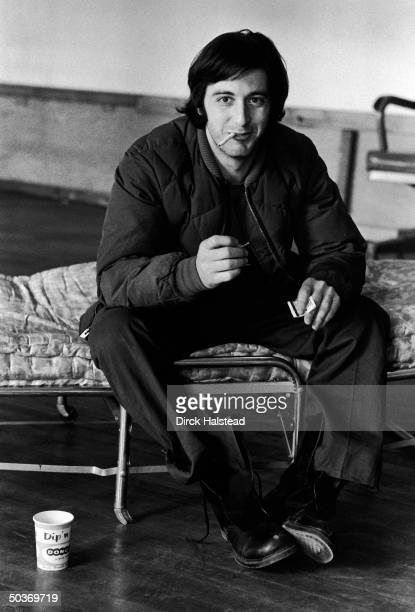 Casual portrait of actor Al Pacino smoking during break fr play rehearsal