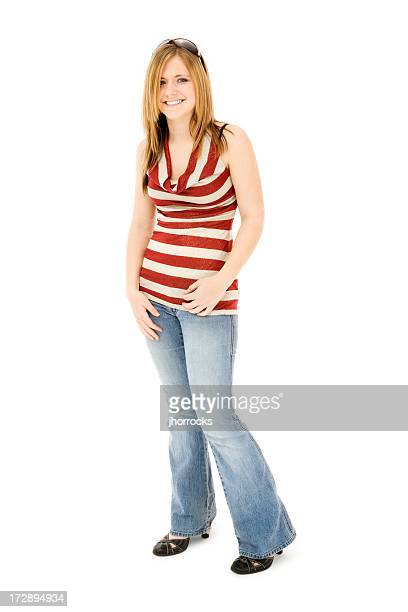 casual teen - sleeveless top stock photos and pictures