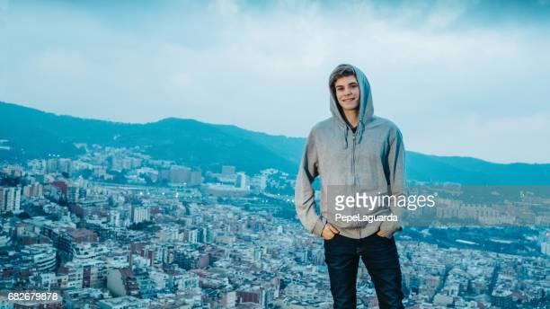 Casual teenager enjoying Barcelona cityscape