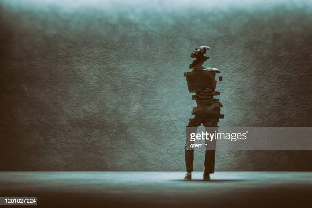 casual woman falling apart - bisected stock pictures, royalty-free photos & images