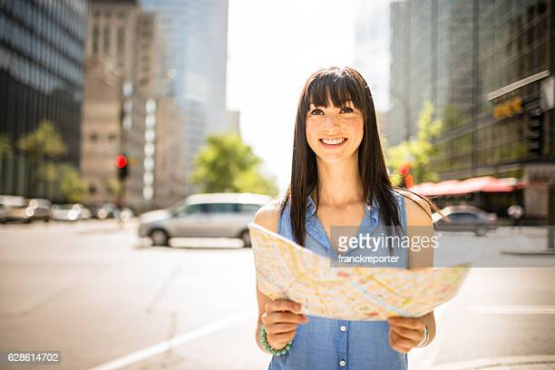 casual woman tourist in montreal - urban scene