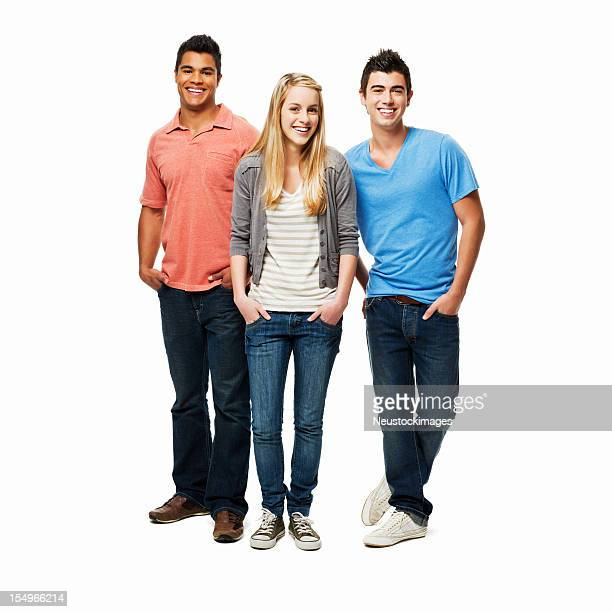 casual young adults - isolated - three stock pictures, royalty-free photos & images