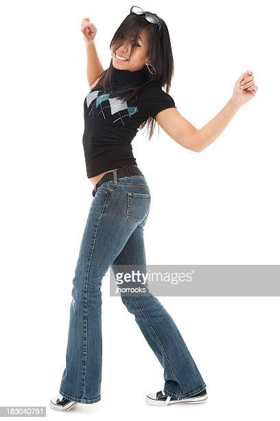 Casual Young Asian Woman Dancing