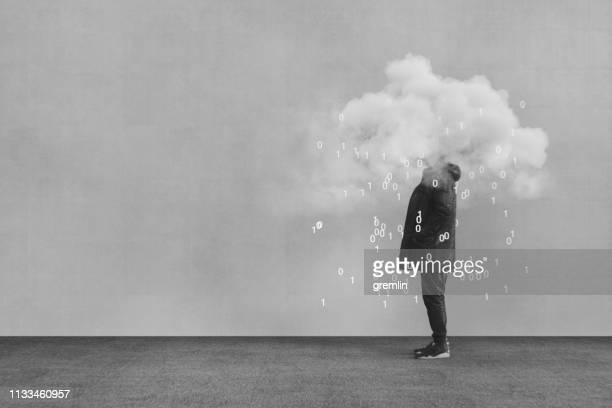 casual young man vr cloud computing - negative emotion stock pictures, royalty-free photos & images