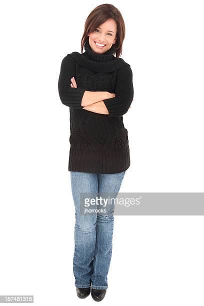Lässige junge Frau mit einem Lächeln