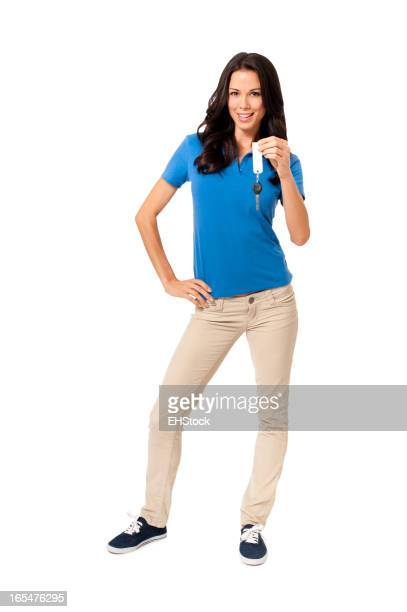 Casual Young Woman with Car Keys Isolated on White Background