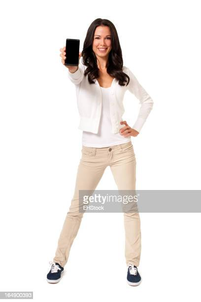 Casual Young Woman with Smartphone Isolated on White Background